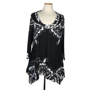 Philosophy Long Black, White & Gray Top SZ L